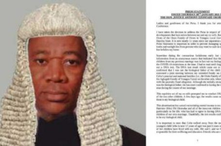 Delta High Court Judge Weeps As DNA Reveals He's Not Father Of Three Adult Children.