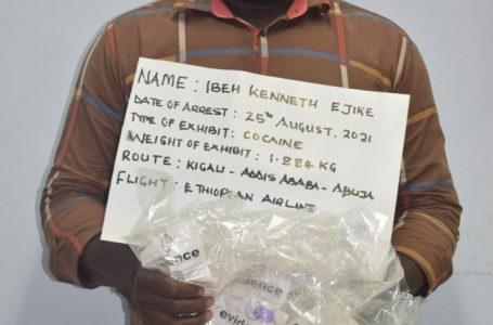 NDLEA arrests kingpin at Abuja airport for ingesting 87 wraps of cocaine<br>. Seizes 400.37kg illicit drugs in Anambra, C/River, FCT, MMIA